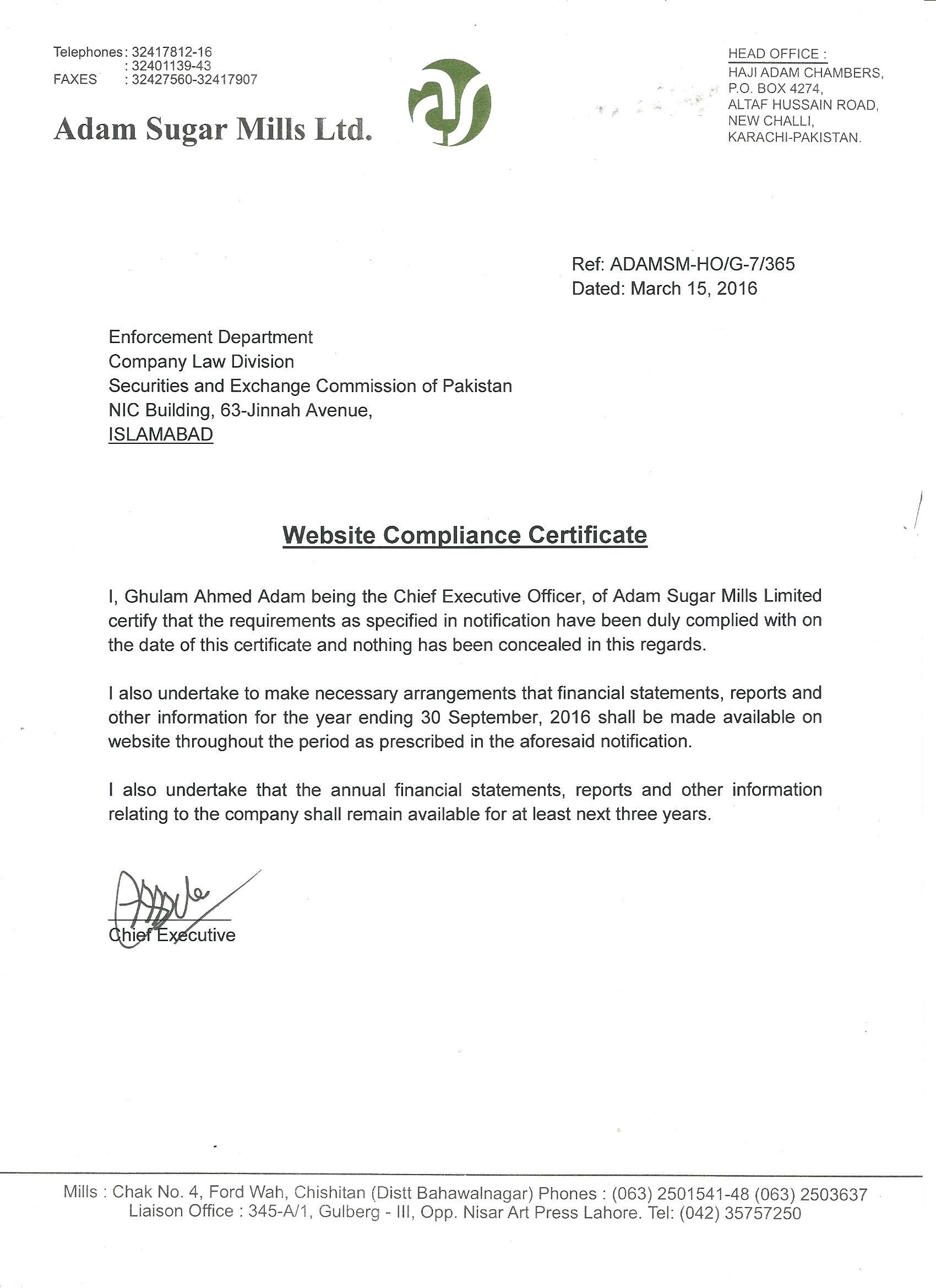 Adam Group Adam Sugar Limited Compliance Certificate